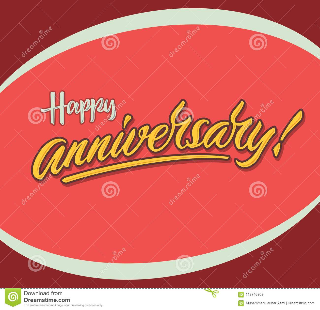 Happy Anniversary Vintage Hand Lettering Typography Greeting Card