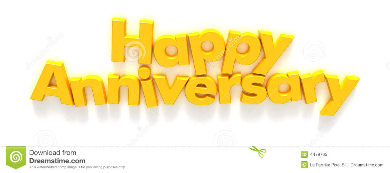 Happy Anniversary In Yellow Letter Magnets Royalty Free