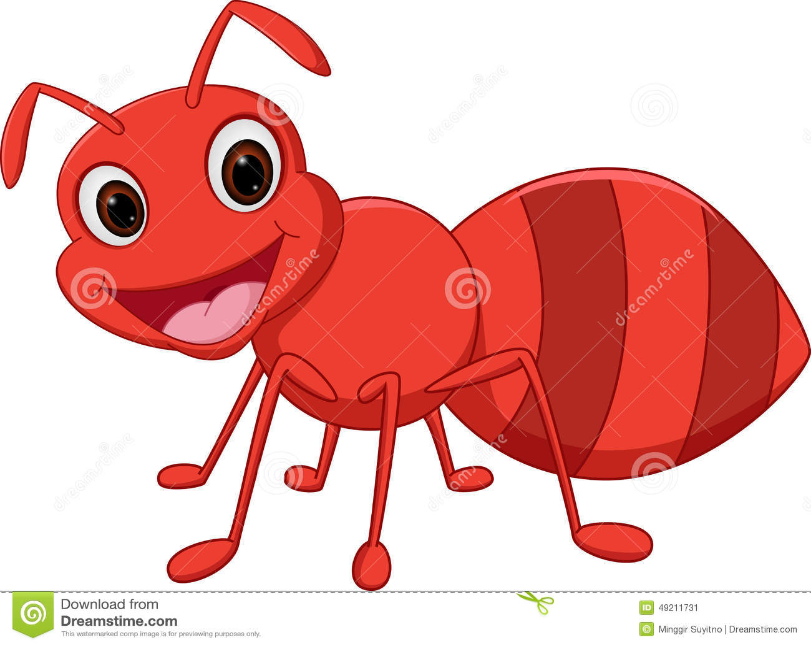 Illustration of Happy ant cartoon isolated on white.