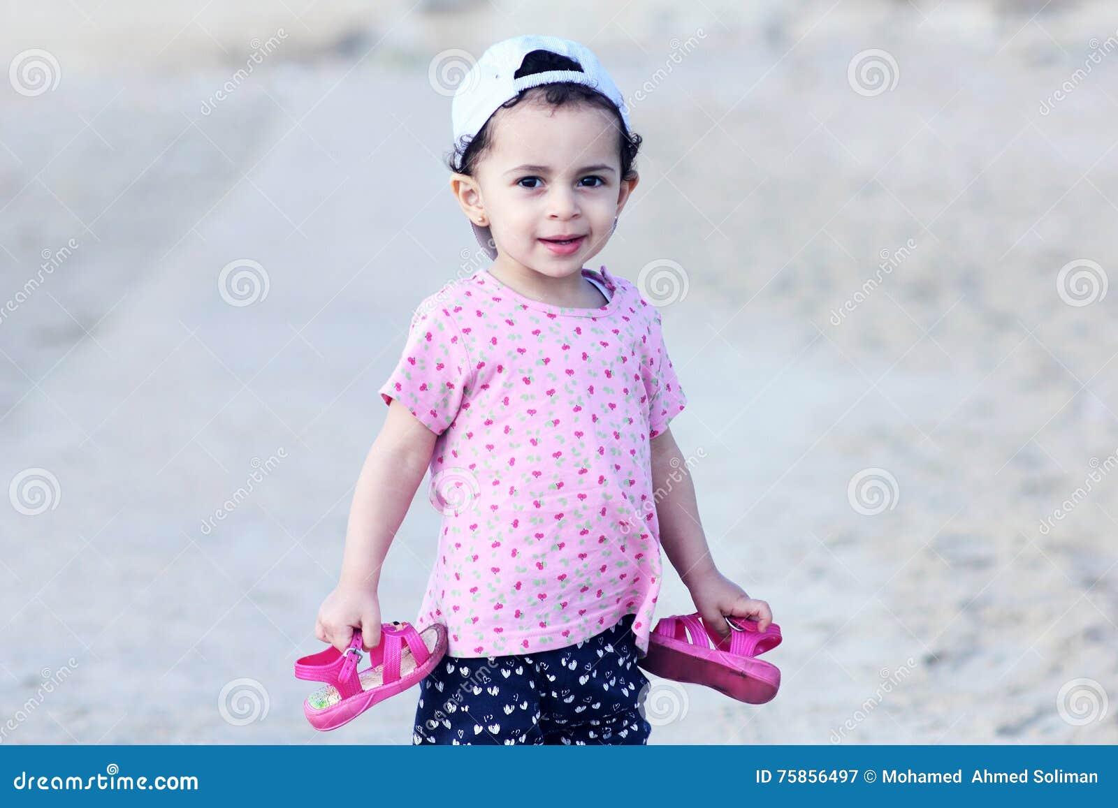 Happy arab egyptian baby girl