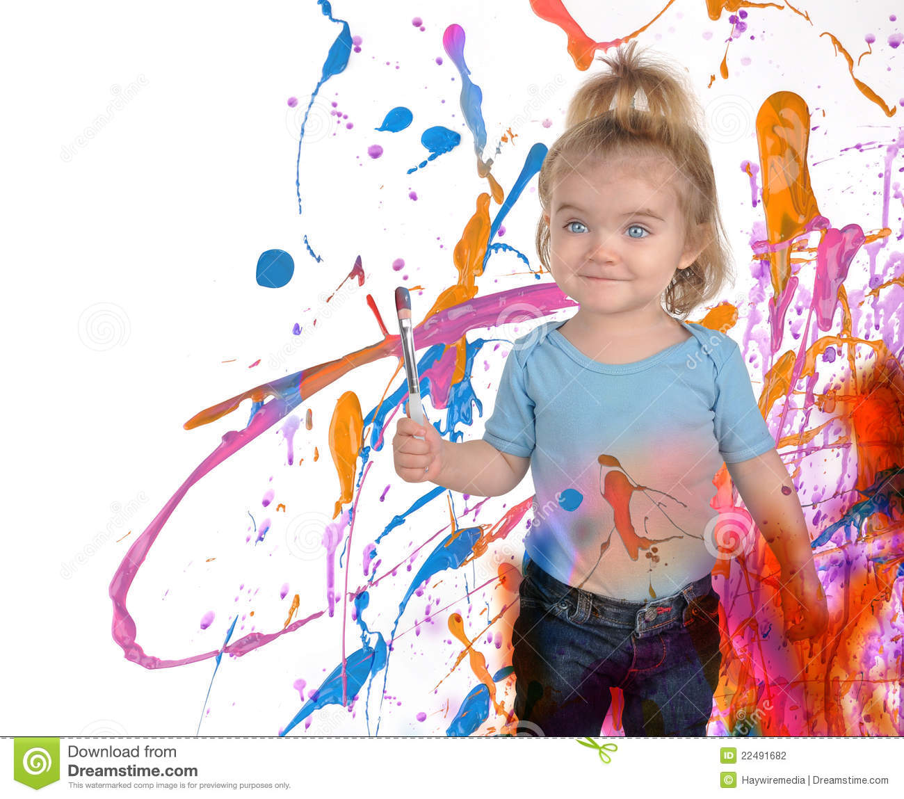 happy art child painting on white stock photo image of