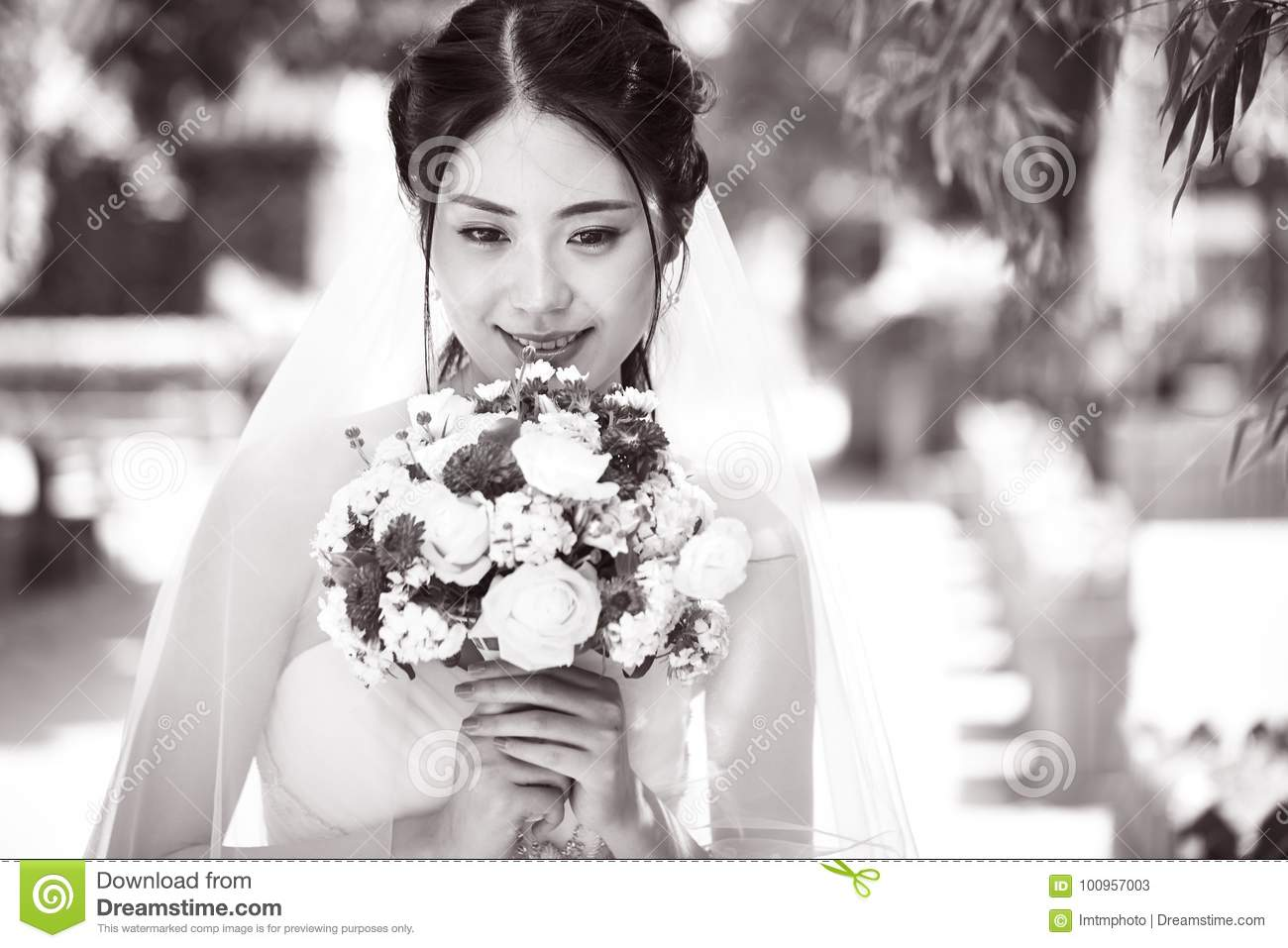 Happy Asian Bride With Flowers Stock Image Image Of Happiness
