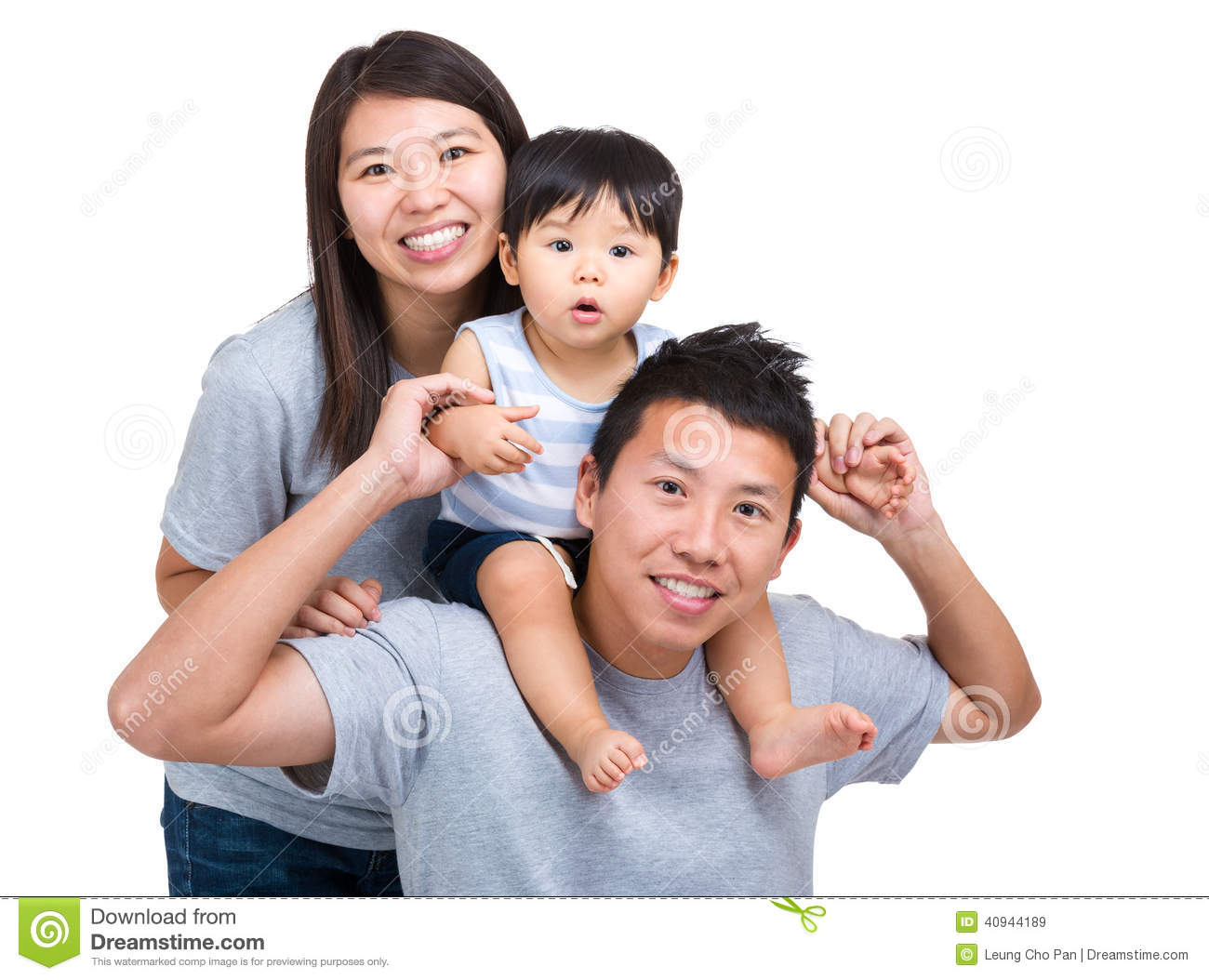 Happy asian family with baby son