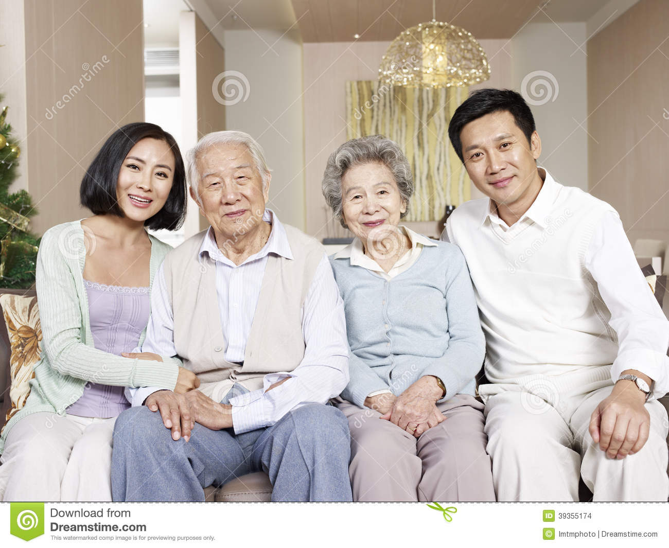 Happy Asian Elderly Couple In Front Yard Stock Photography ... Happy Asian Family In Front Of House