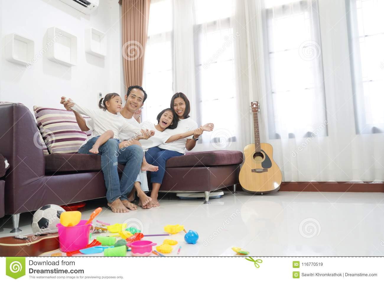 Happy Asian Family In Living Room At Home Stock Image - Image of ...