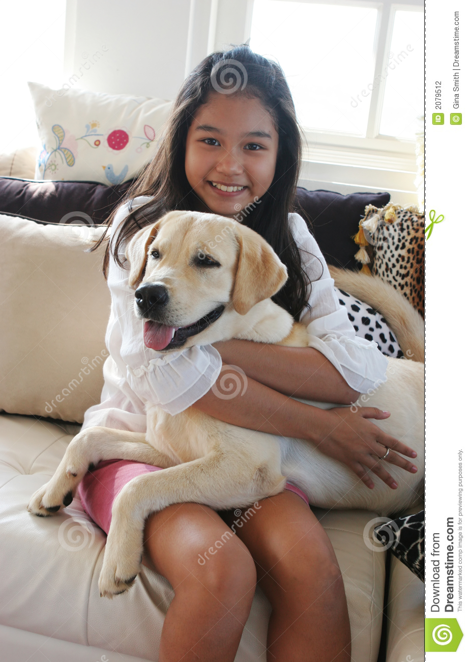 Asian girls with dogs