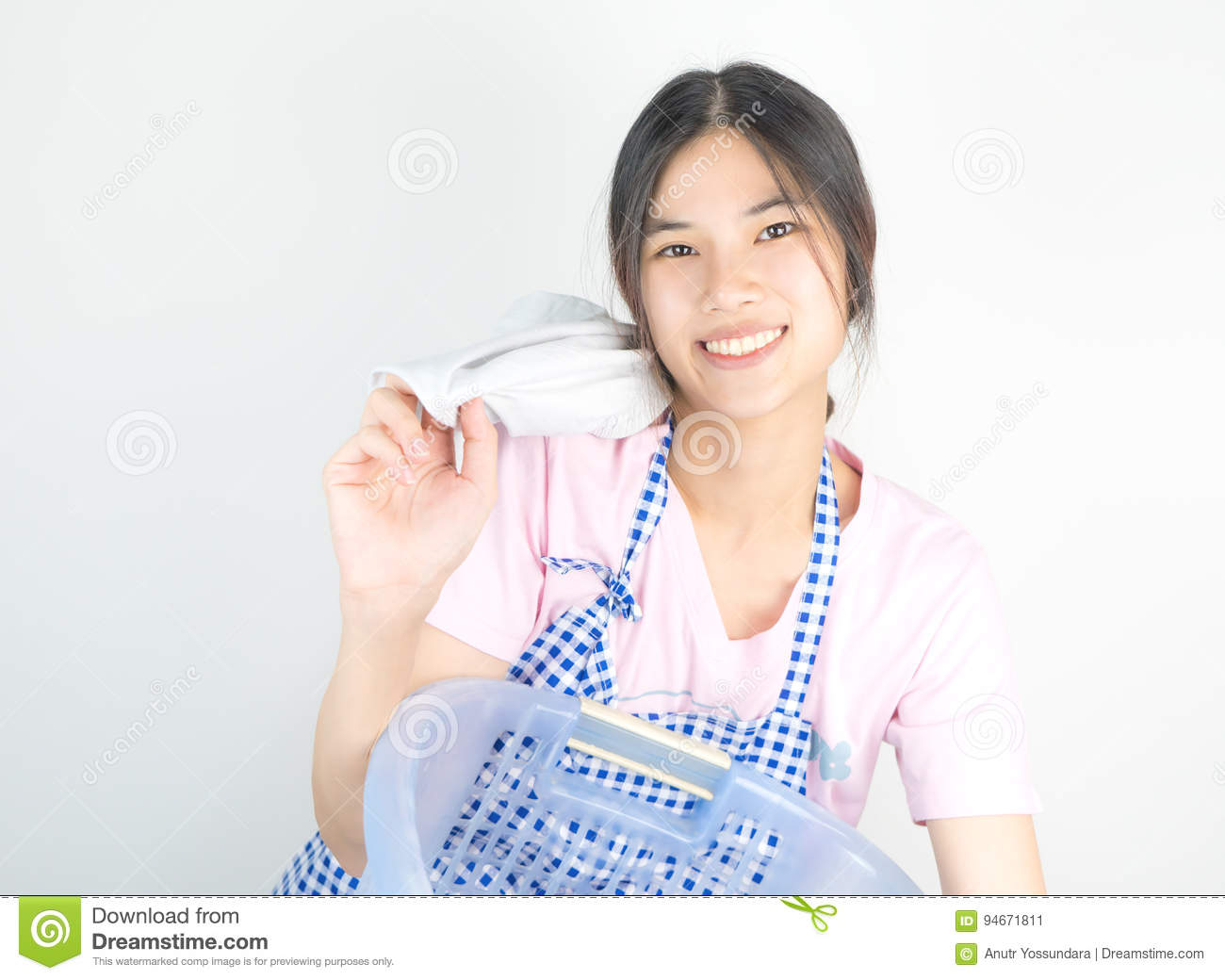 Happy Asian Housewife is enjoying house work