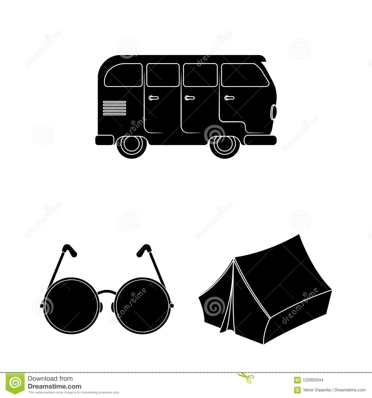 Happy and attribute black icons in set collection for design. Happy and accessories vector symbol stock web illustration