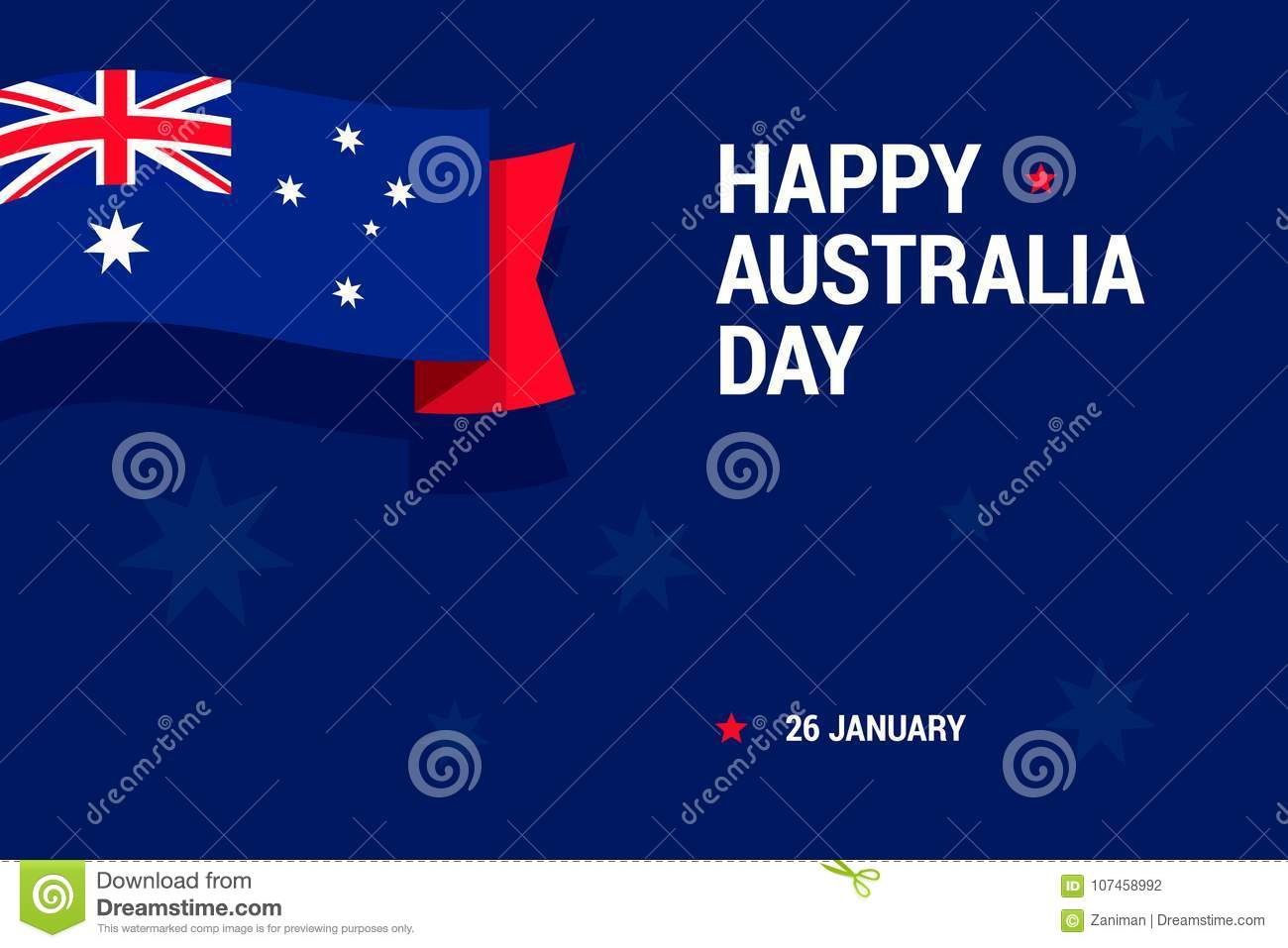 Happy Australia Day Celebration Card With National Flag For Print Or