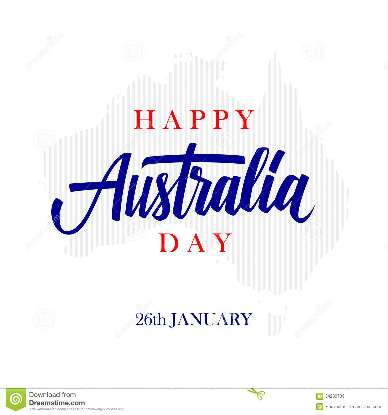Happy australia day greeting card with calligraphic element happy australia day greeting card with calligraphic element creative typography for holiday greetings kristyandbryce Choice Image