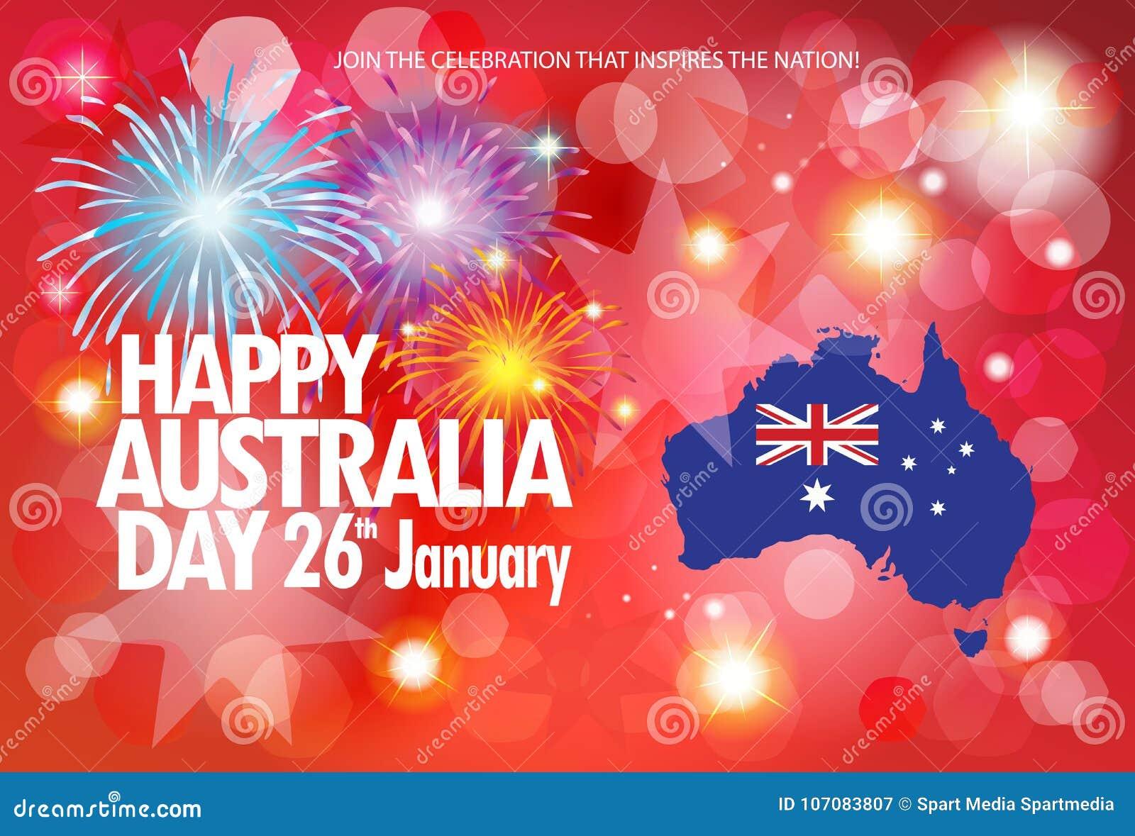 Happy australia day greeting fireworks poster stock vector happy australia day greeting fireworks poster m4hsunfo