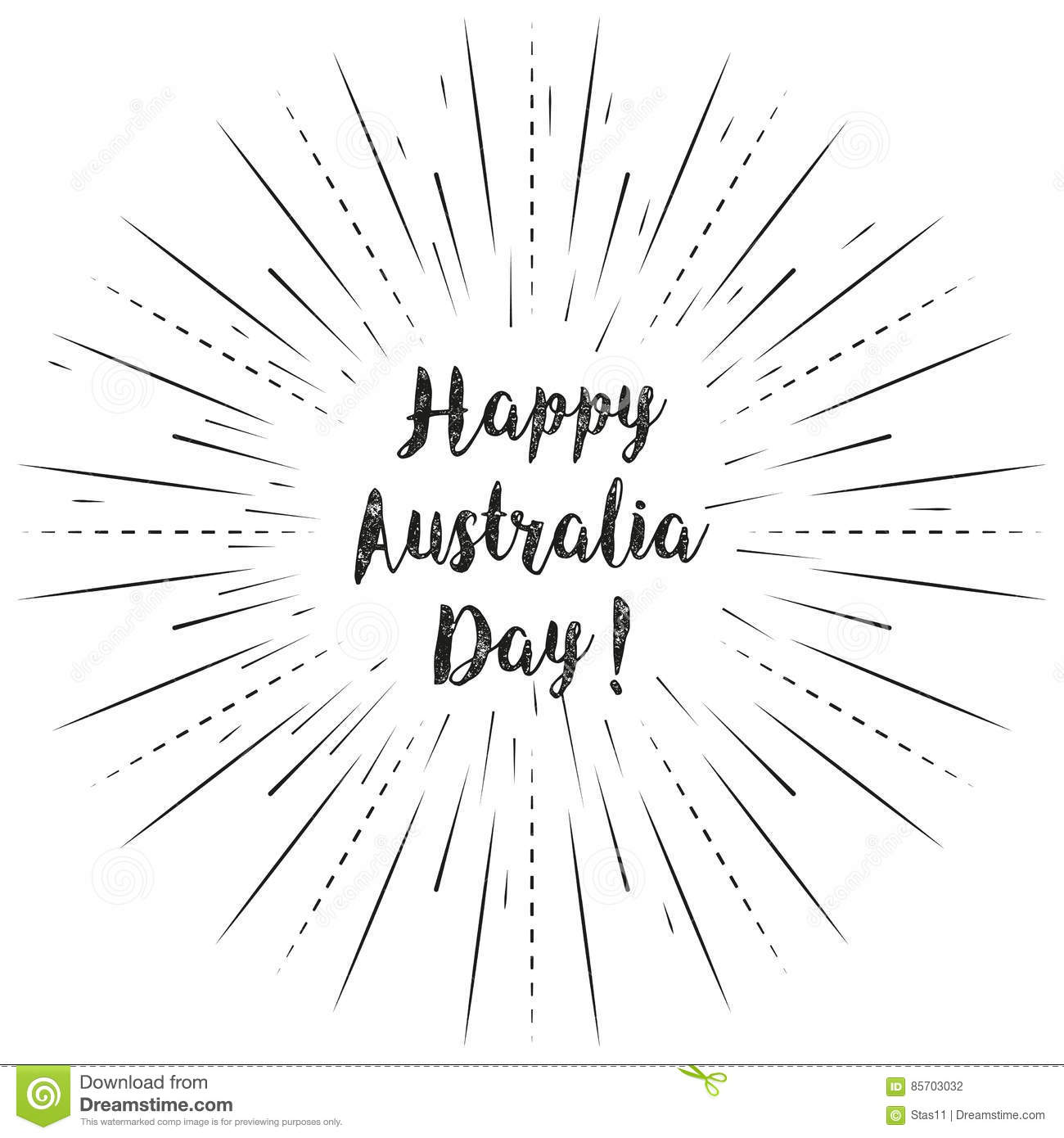 Happy Australia Day text with sun rays linear background. Vector card design with custom calligraphy