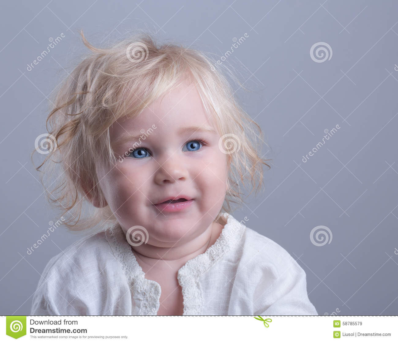 Happy Baby Blue Eyes Blonde Stock Photo - Image: 58785579