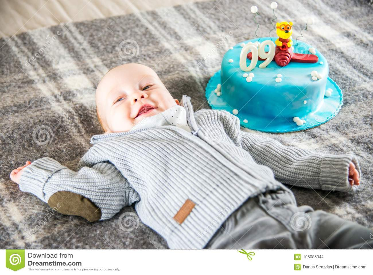 Happy Baby Boy And Cake 9 Month Stock Photo Image Of