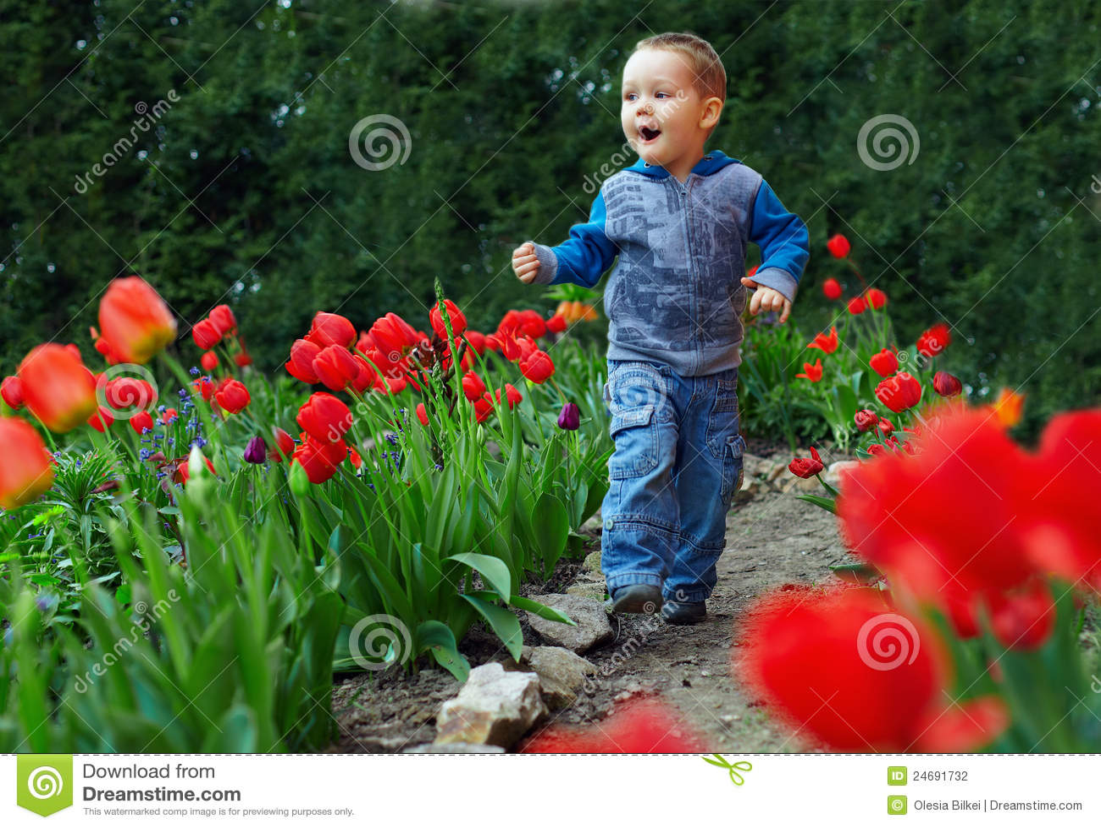 Happy Baby Boy Running The Flower Garden Stock Photo