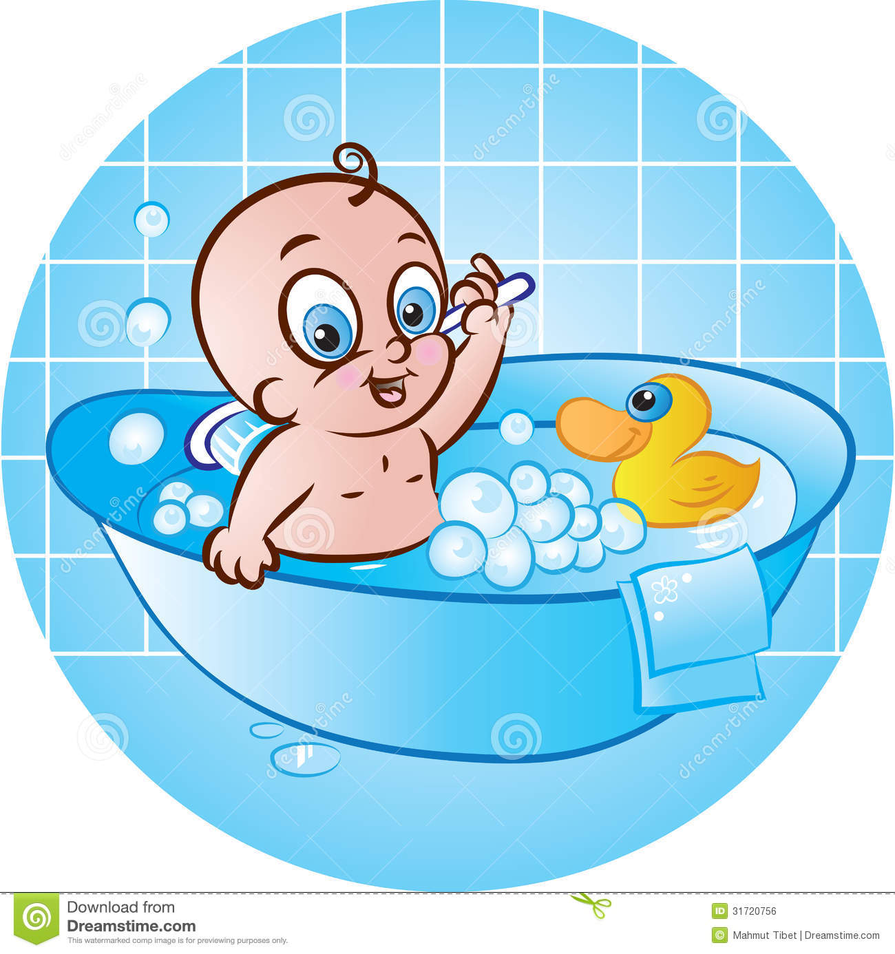Happy baby boy in tub stock vector. Illustration of washing - 31720756