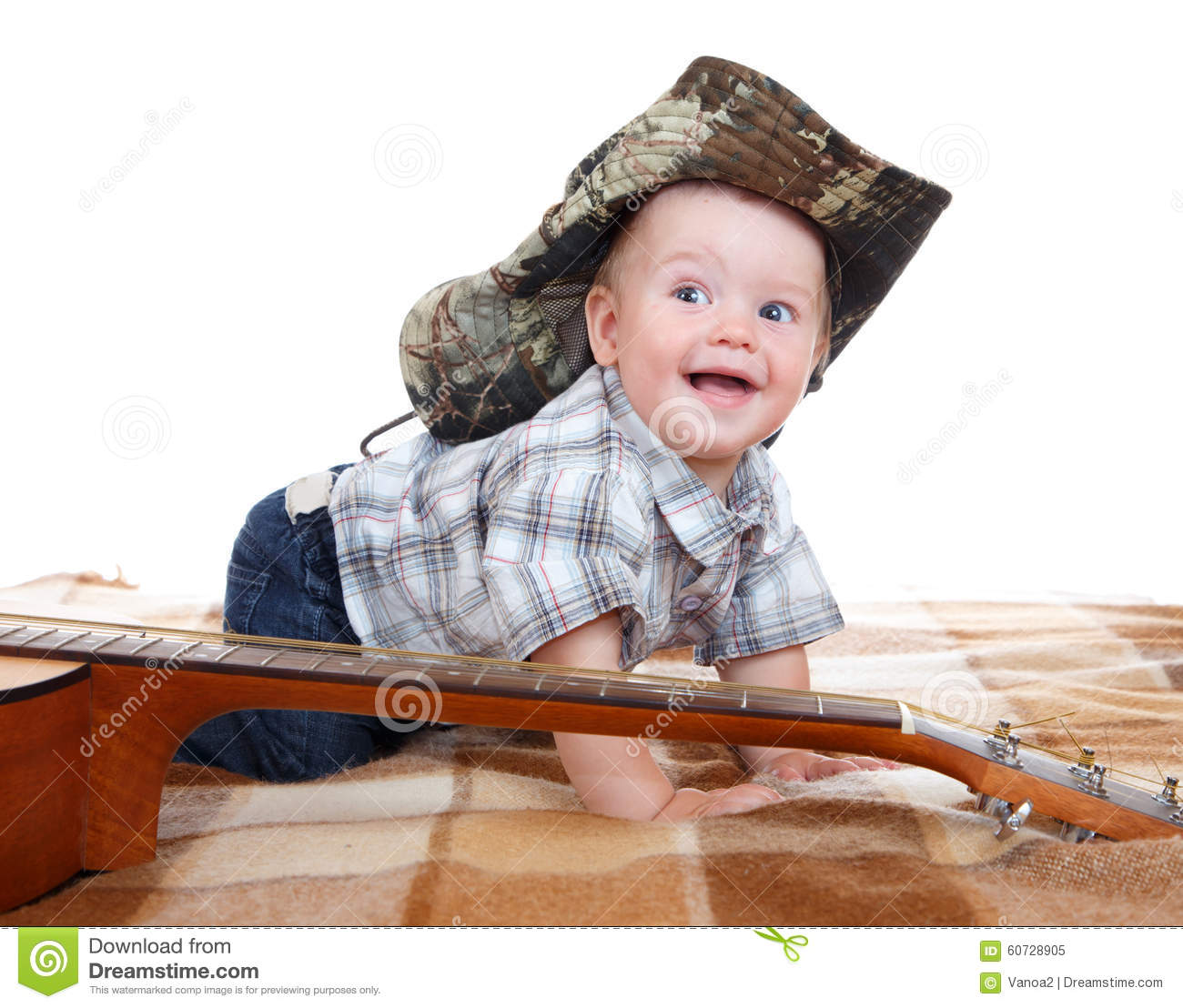 Happy Baby In Cowboy Hat And Acoustic Guitar Stock Image - Image of ... ce9ce6cdd88