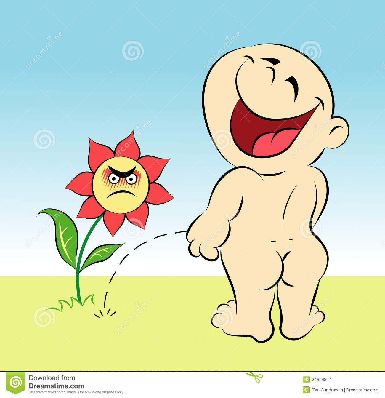 Happy Baby And Flower Cartoon Royalty Free Stock ...
