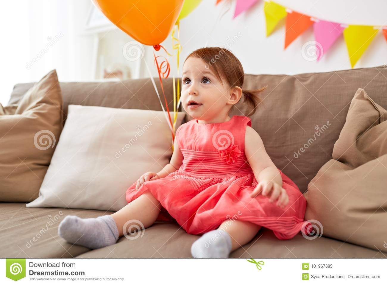 Happy Baby Girl On Birthday Party At Home Stock Image Image Of
