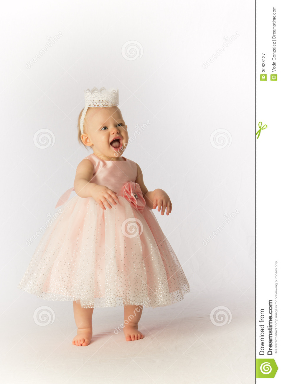 Happy Baby Girl In Party Dress And Hat Stock Image Image Of Girl