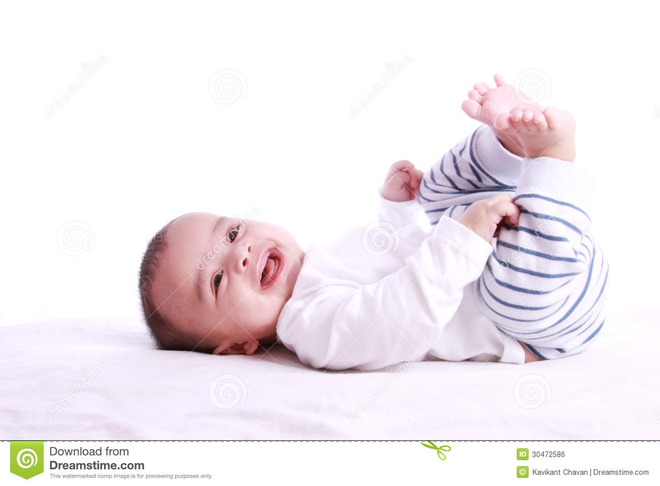 Happy Baby Laughing And Playing Stock Photo