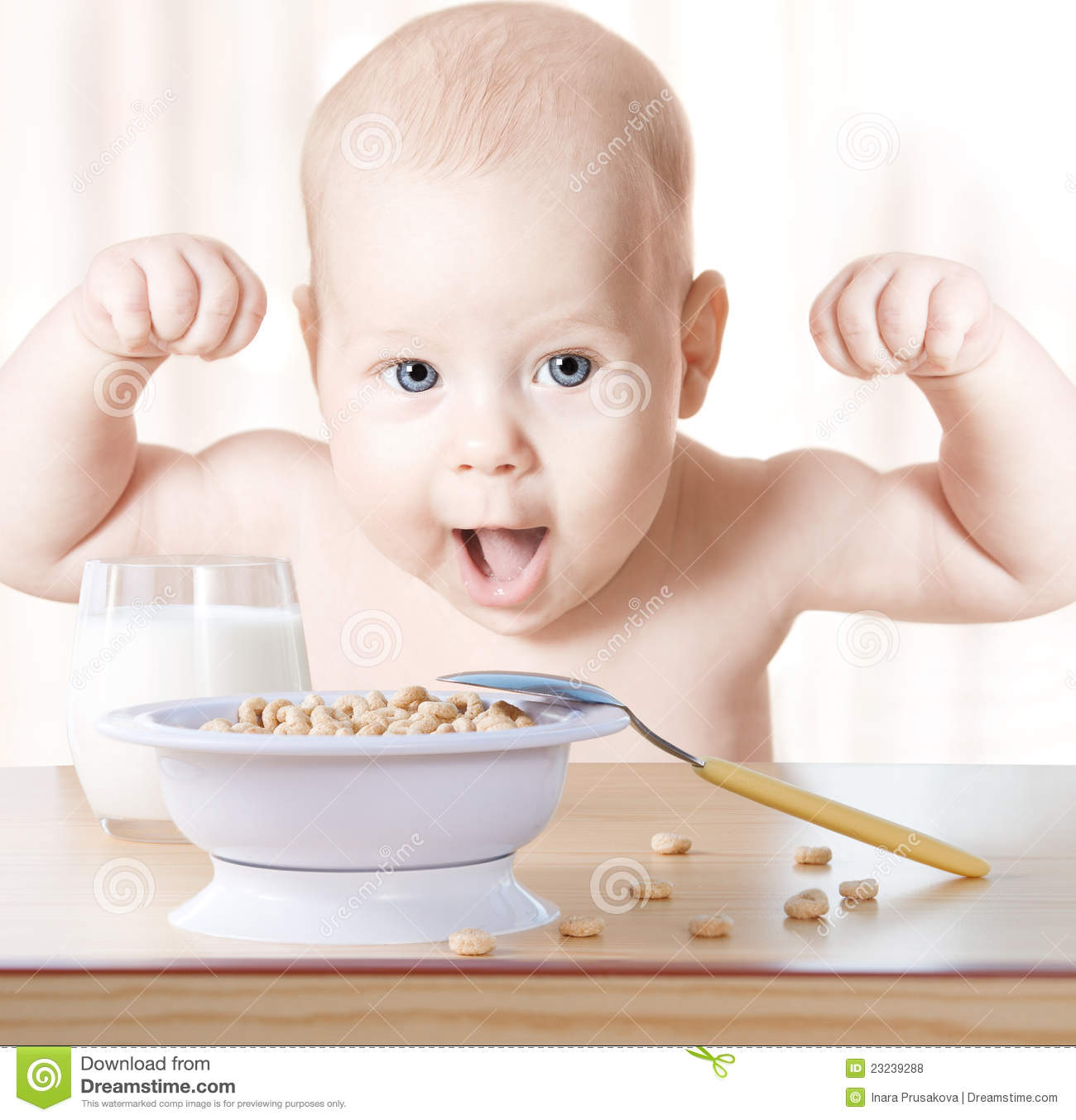 Baby Food. Happy Kid Eating Cereal Milk, Strong Healthy ...
