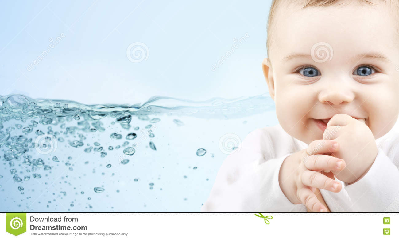 Happy Baby Over Blue Background With Water Splash Stock