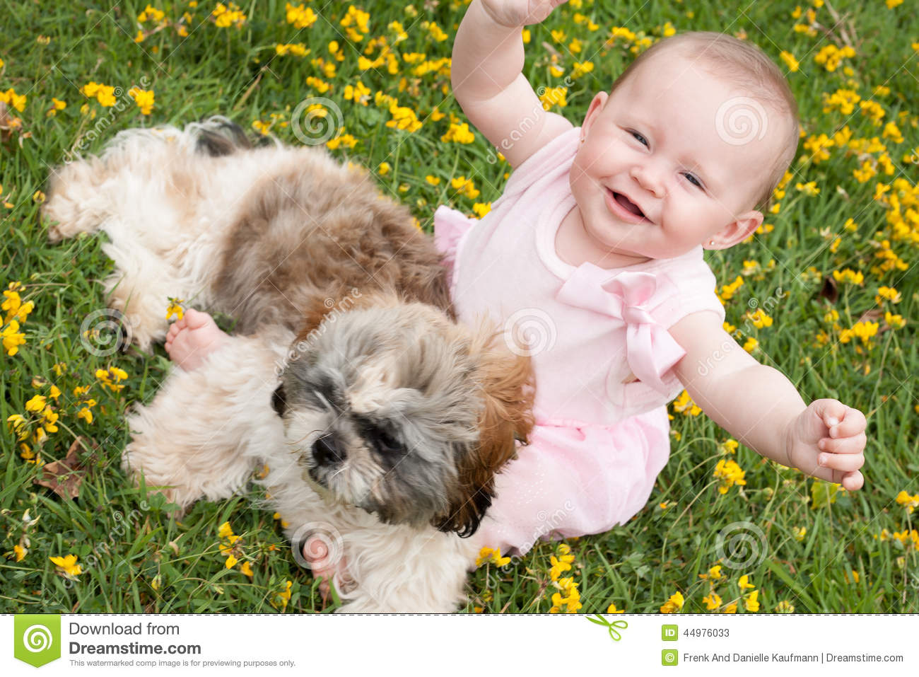 Happy Baby And A Puppy Stock Photo - Image: 44976033
