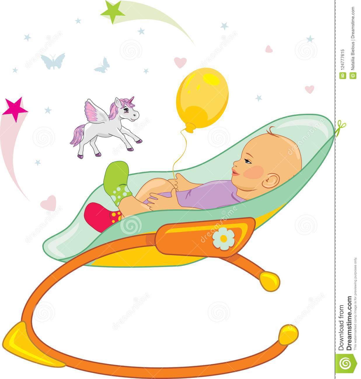 Excellent Happy Baby In A Rocking Chair Stock Vector Illustration Of Machost Co Dining Chair Design Ideas Machostcouk