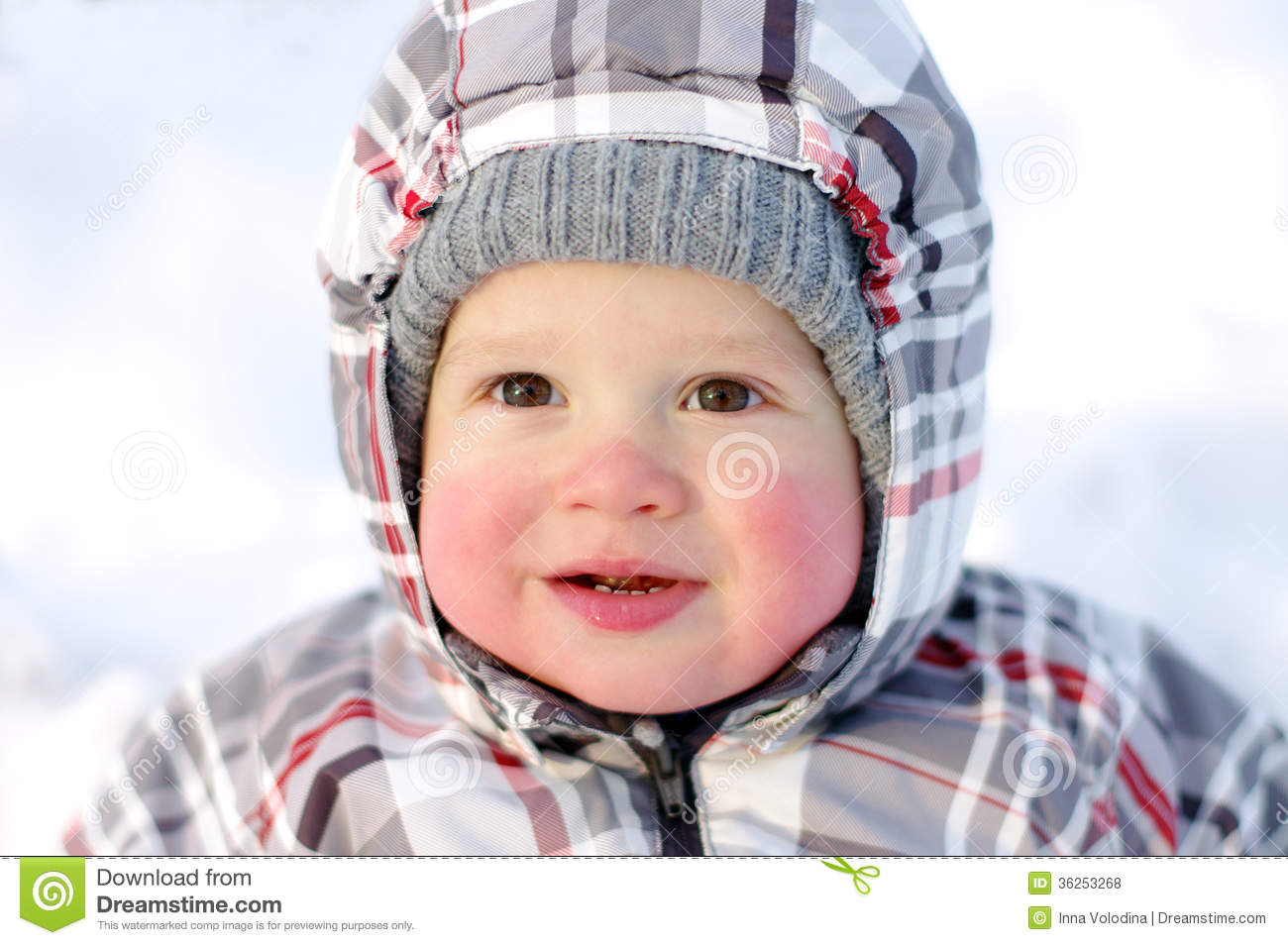 Happy Baby With Rosy Cheeks In Winter Royalty Free Stock ...