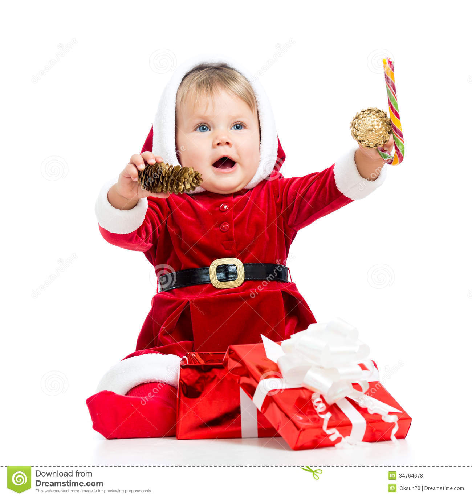 Happy baby in santa claus clothes stock photo image