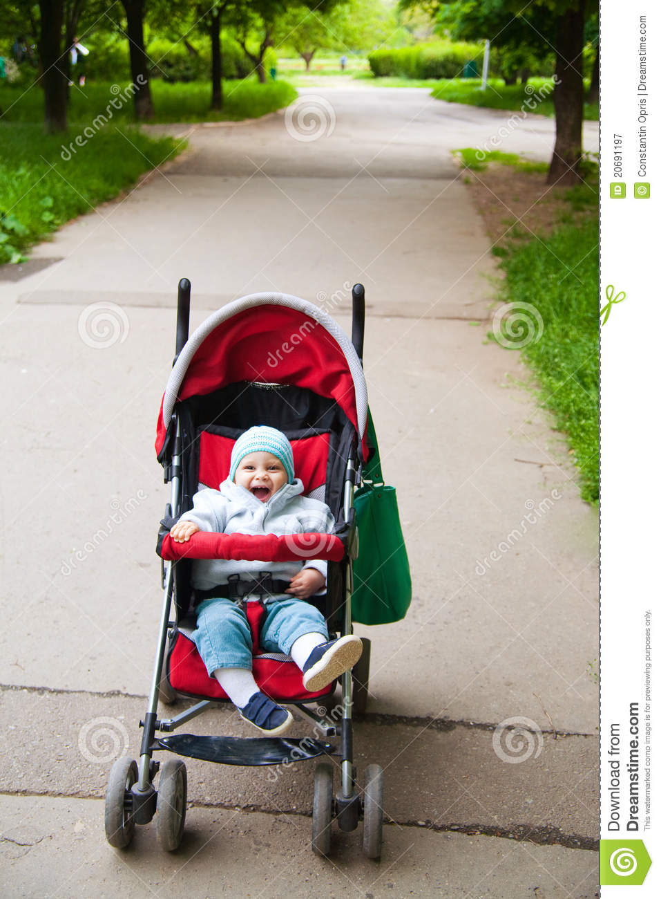 Happy Baby In Stroller Royalty Free Stock Photography - Image ...