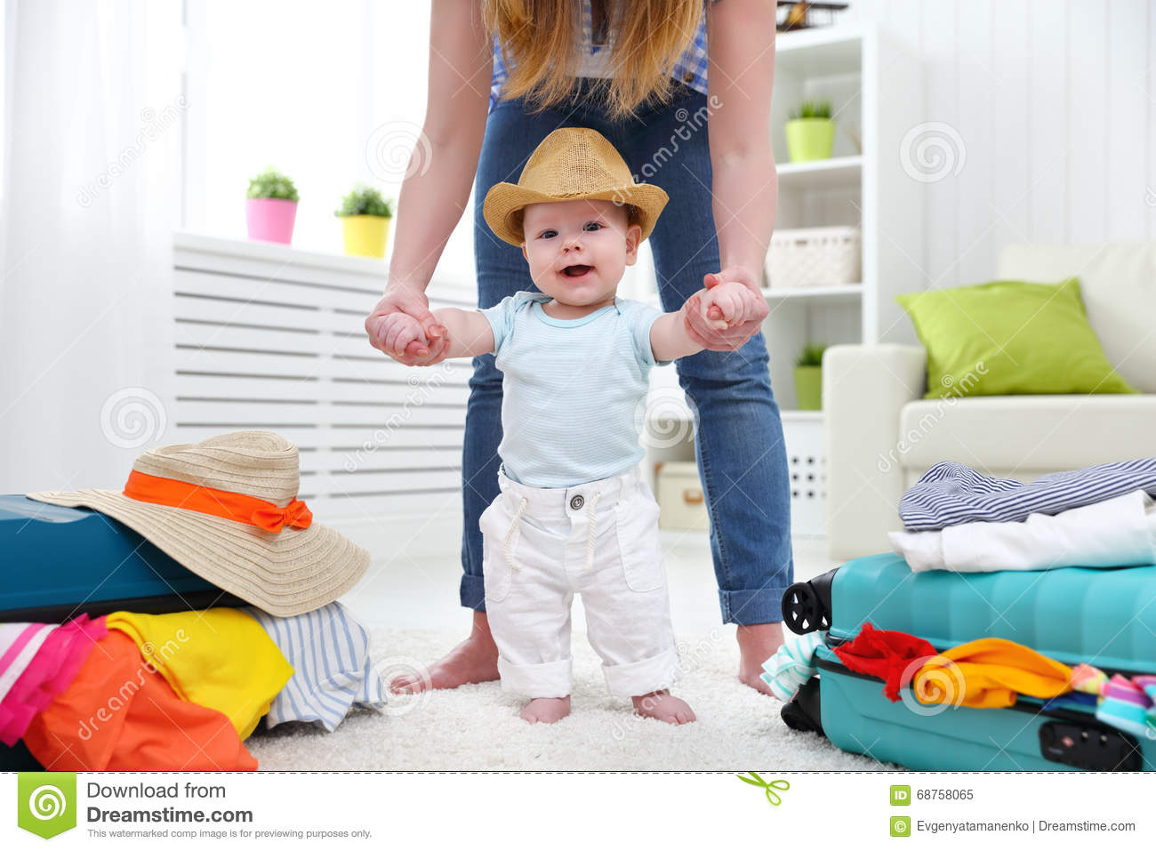 Happy Baby Taddler Makes The First Step With Mother And