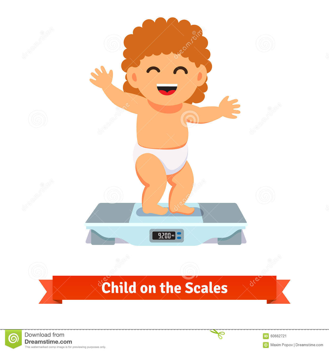 Happy Baby Toddler In Diaper Weighting On A Scales Stock