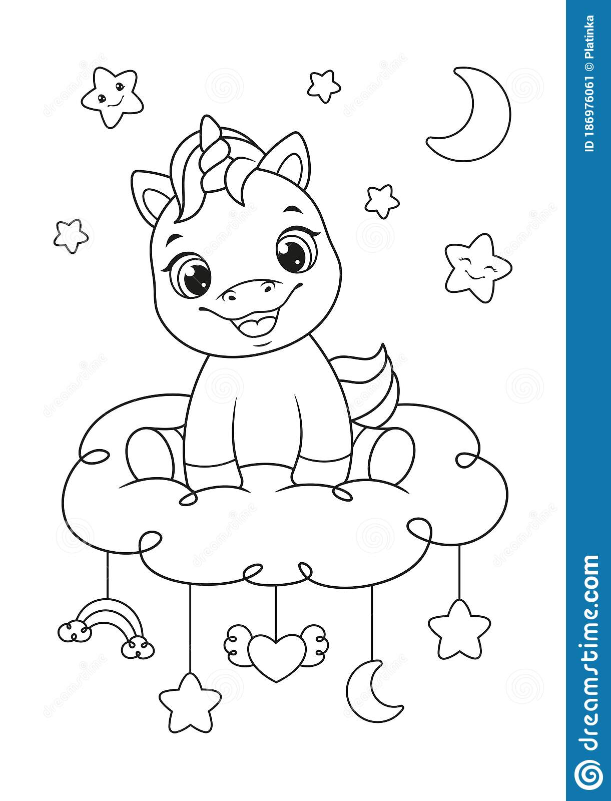 Happy Baby Unicorn Coloring Page Stock Vector Illustration Of Fantasy Baby 186976061