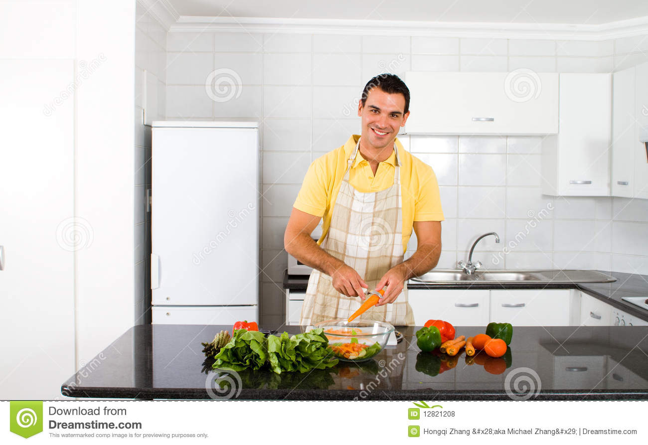 Happy Bachelor Cooking Royalty Free Stock Photos - Image: 12821208