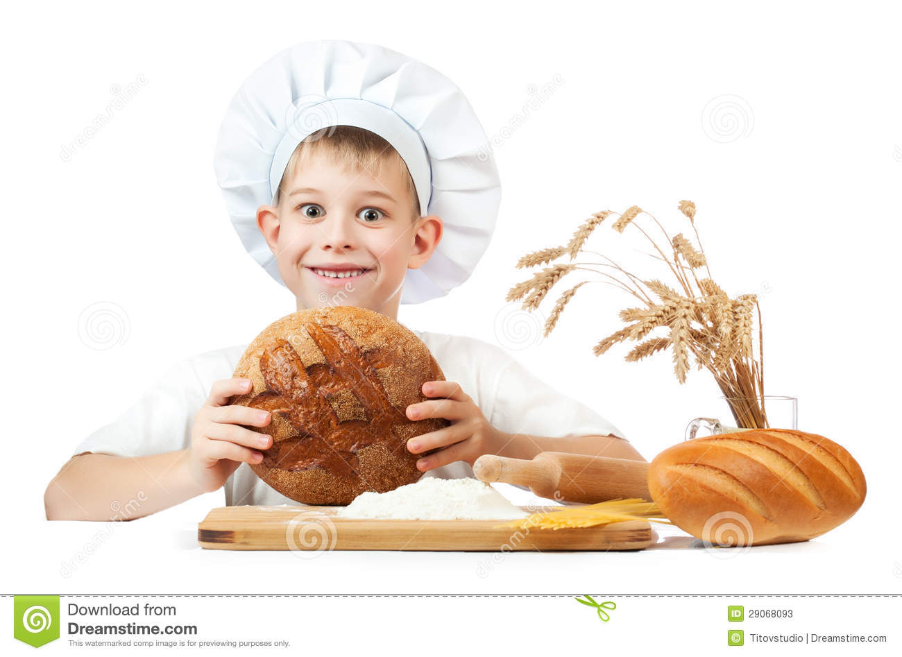 Happy Baker Boy With A Loaf Of Rye Bread Stock Image