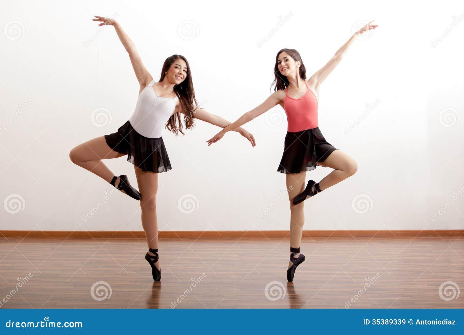 Happy Ballet Dancers In A Studio Stock Image - Image of