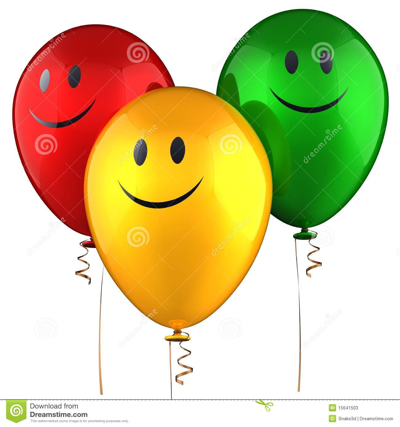 Three shiny colorful balloons with smiles. Isolated on white. 3D ...