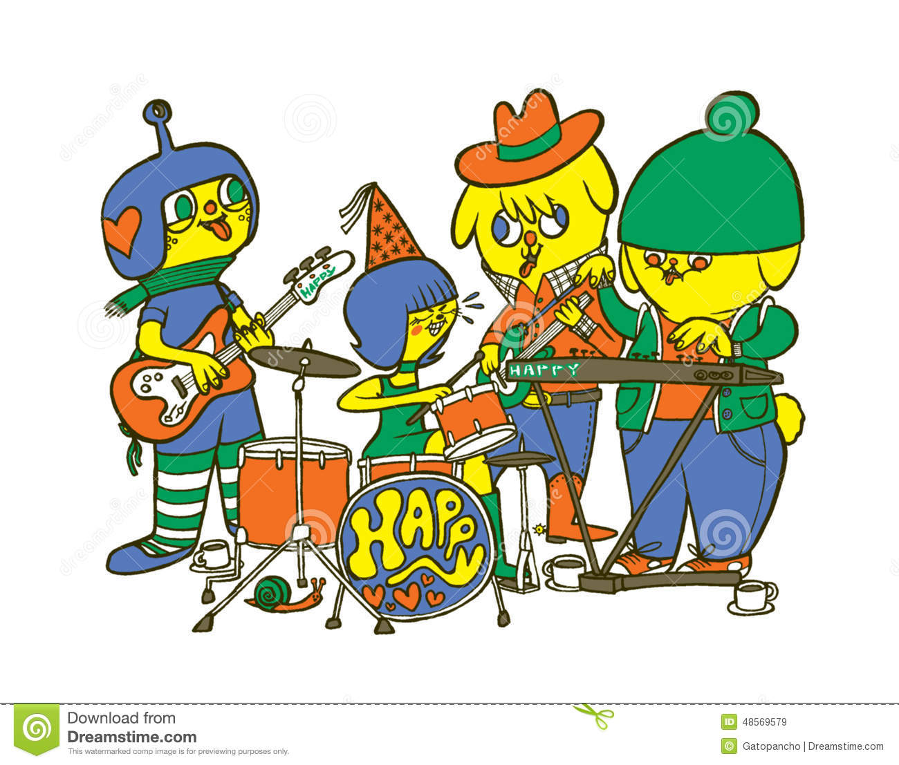 Cartoon Characters Mixed Together : Happy band stock illustration image of enjoy dudes