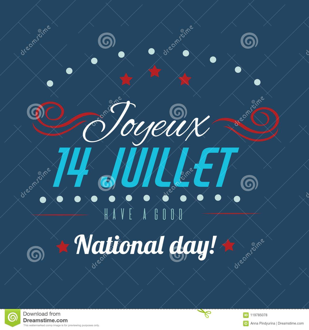 Happy Bastille Day Greetings Card Design. 14th July