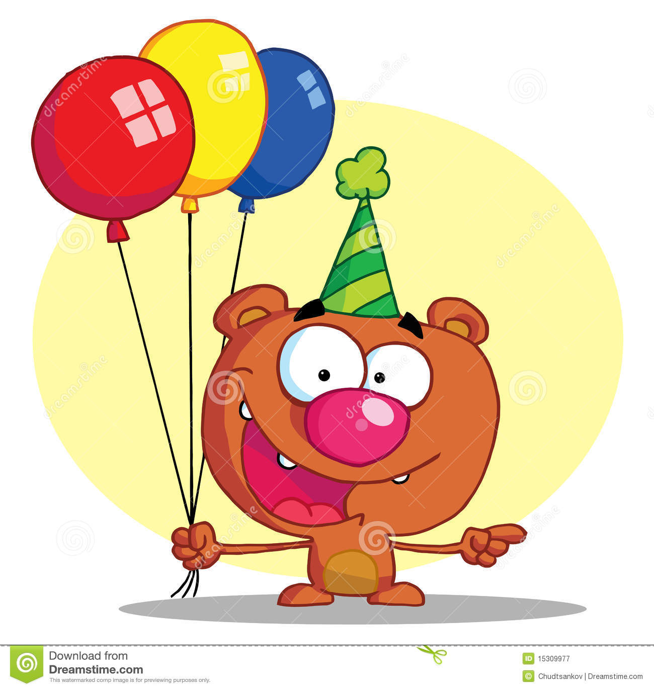 Happy Bear In Party Hat With Balloons Stock Vector