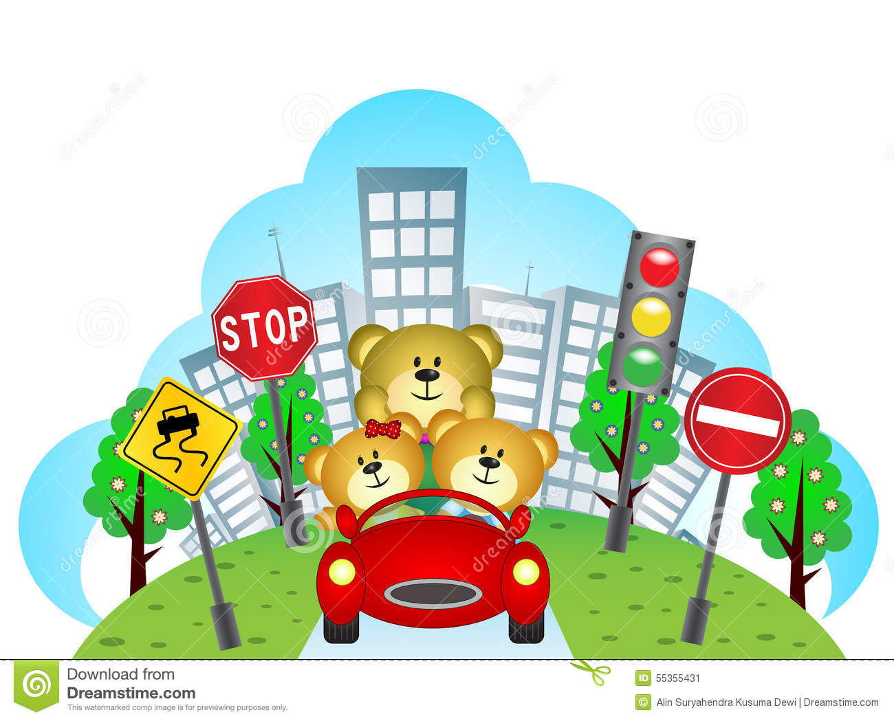 Colour a car - Happy Bears On A Car With City Background And Traffic Sign