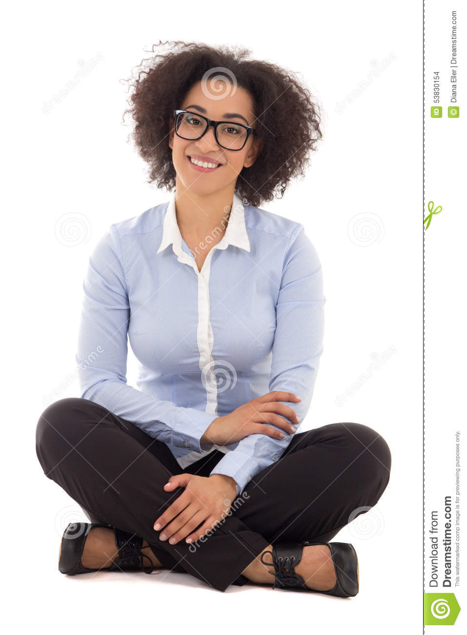 Happy beautiful african american business woman sitting isolated