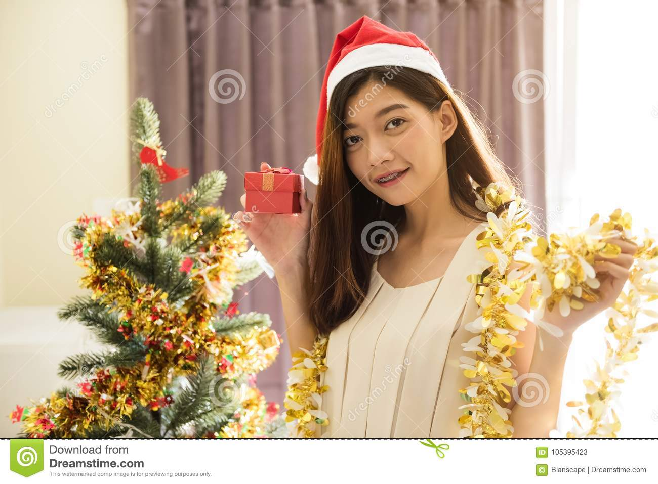 Smile Asian Woman With Christmas Gift Stock Image - Image of bright ...