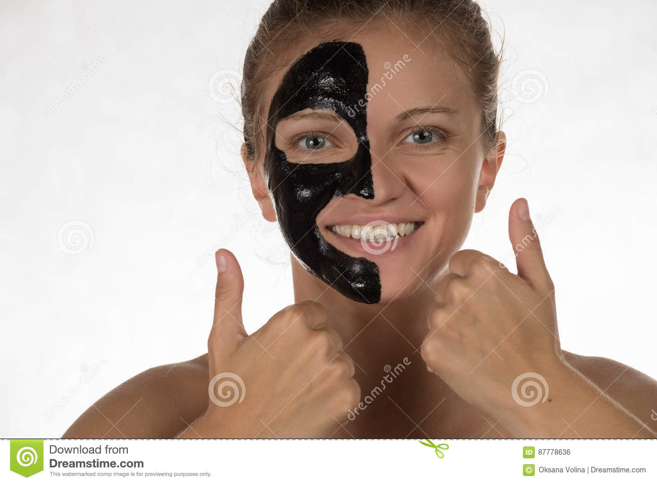 Happy Beautiful Girl With Acne On A White Background In A Cosmetic