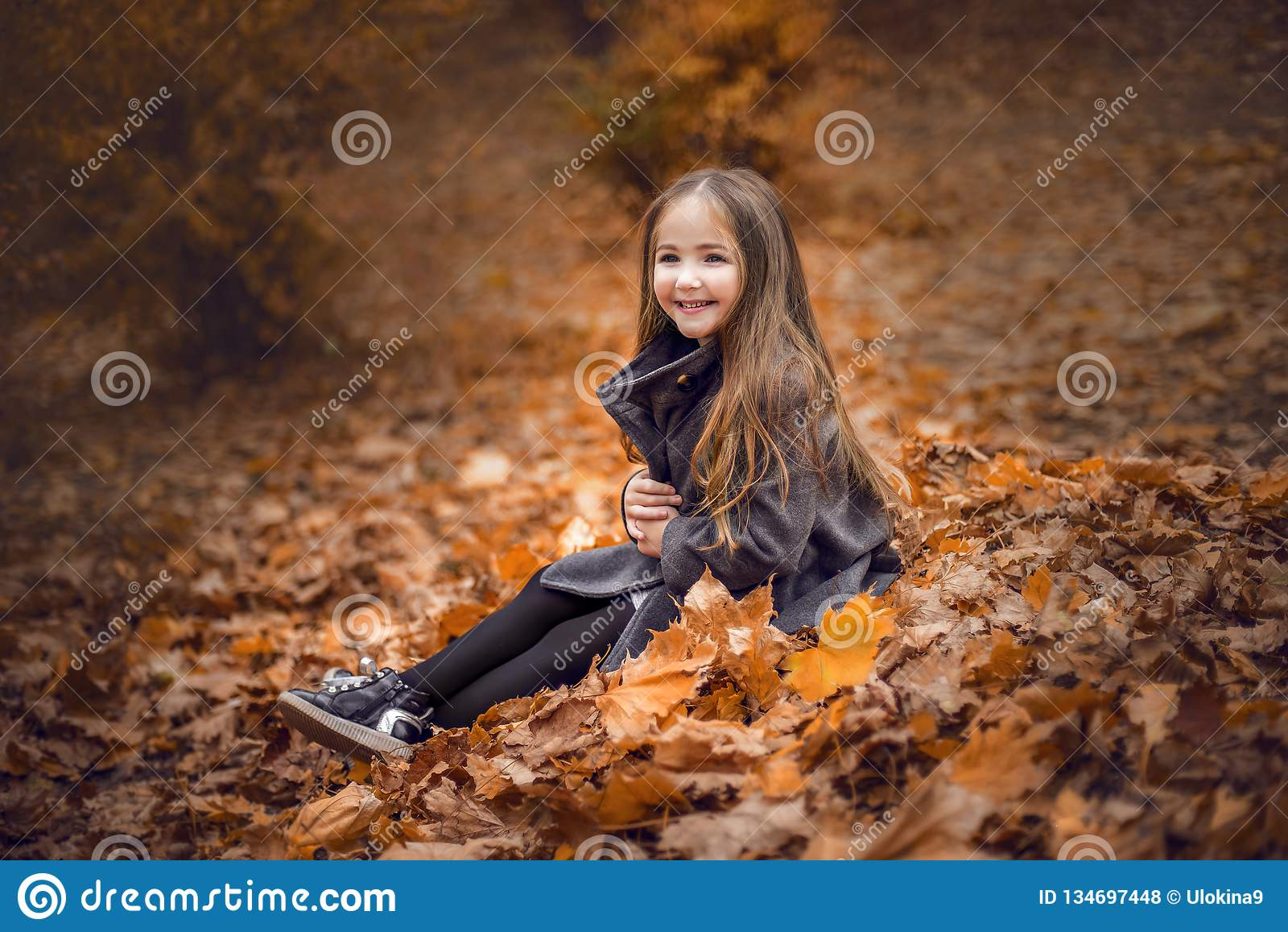 Happy beautiful girl in the autumn leaves.