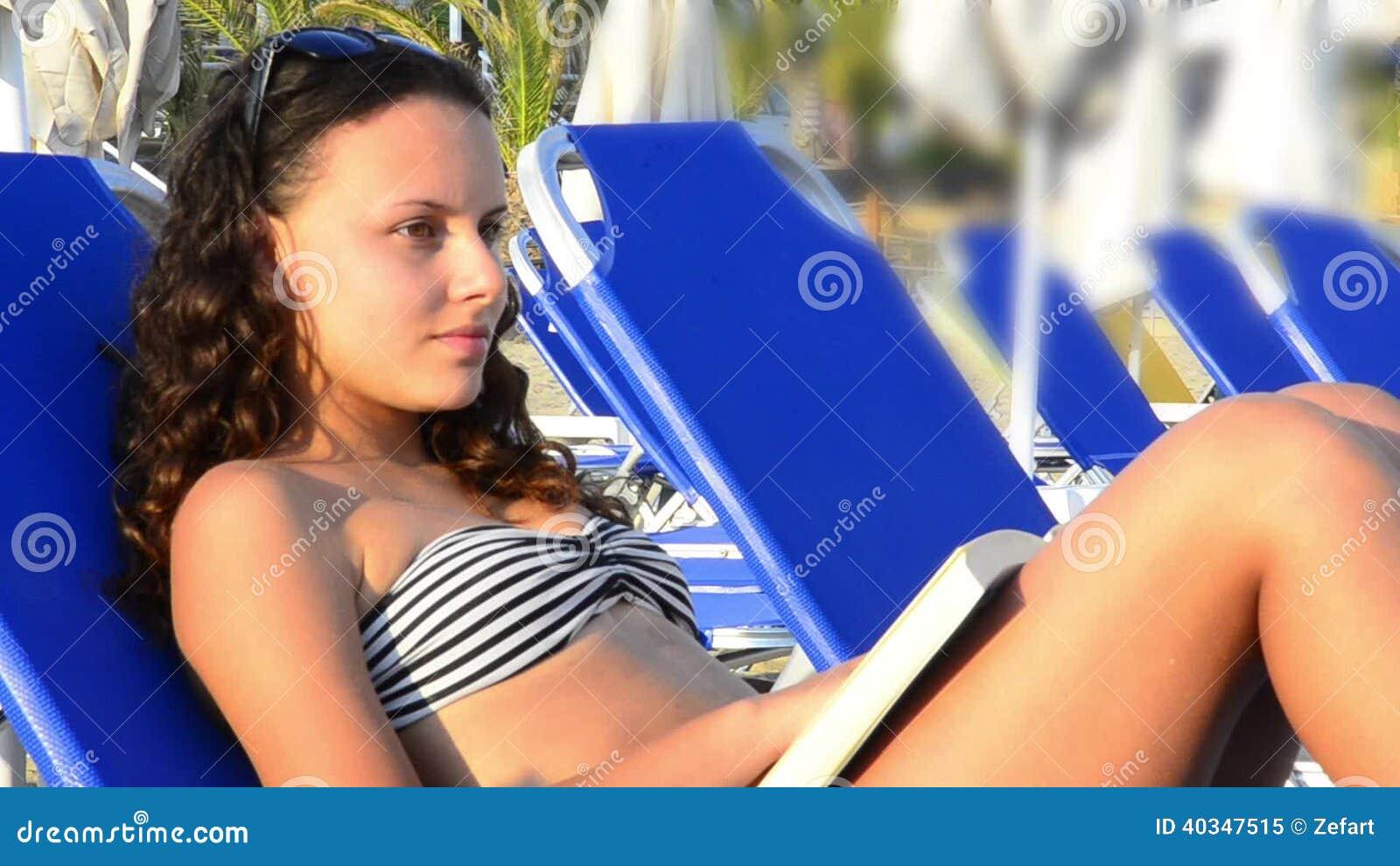 sunbathing beach on girls Teen