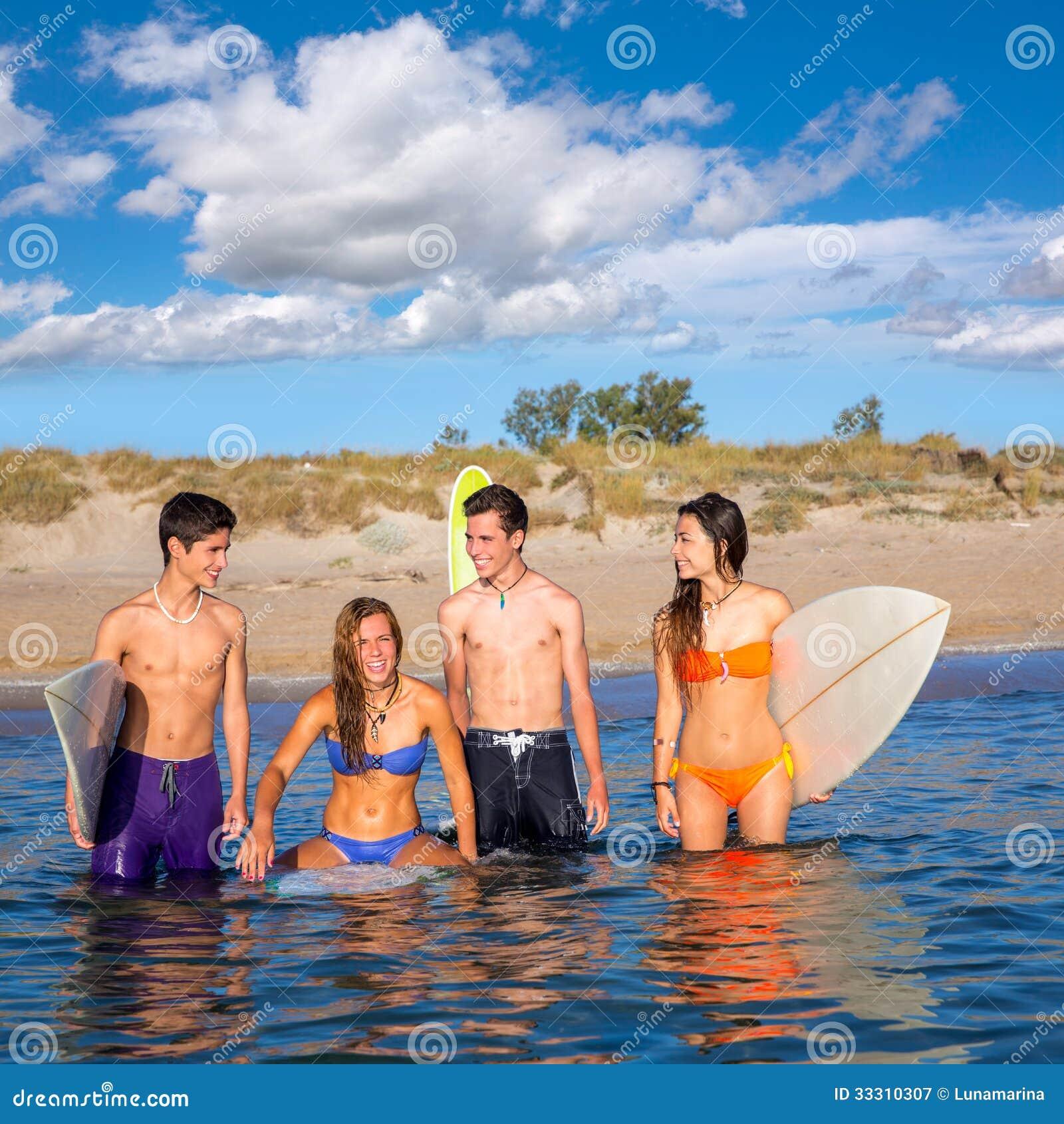Woman Enjoying At Beach Stock Image Image Of Pleasure: Four Beautiful Young Women Enjoying The Beach Stock Photo