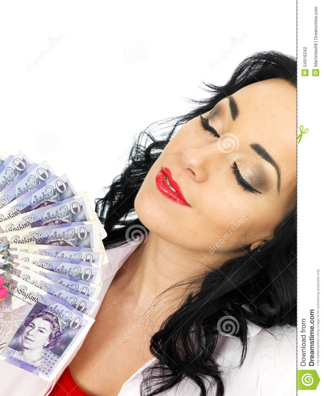 Happy Beautiful Wealthy Young Hispanic Woman Holding Money Stock